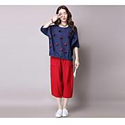 Mujer Vintage Tejido Oriental Noche Vacaciones Verano Camiseta,Escote Redondo Un Color 1/2 Manga Fibra de bambú Medio
