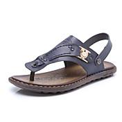 Hombre Zapatillas y flip-flop Anillo Frontal Semicuero Primavera Verano Informal Azul Marrón Claro Caqui Plano