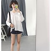 Mujer Simple Casual/Diario Verano Camisa,Escote en Pico A Rayas Manga Larga Poliéster
