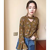 Mujer Simple Bonito Casual/Diario Primavera Verano Camisa,Escote en Pico Floral Manga Larga Algodón Fino