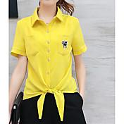 Mujer Chic de Calle Trabajo Verano Camisas Pantalón Trajes,Cuello Camisero Un Color Manga Corta