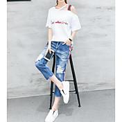レディース 夏 Tシャツ(21) パンツ スーツ スラッシュ度ネック 半袖