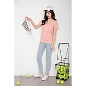 Mujer Bonito Deportes Verano Camiseta,Escote Redondo Un Color Manga Corta Algodón Fino