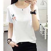 レディース カジュアル/普段着 Tシャツ,シンプル ラウンドネック フラワー コットン 半袖