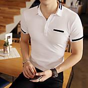 メンズ オフィス/キャリア カジュアル Polo,シンプル シャツカラー ソリッド ポリエステル 半袖