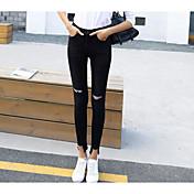 Mujer Sencillo Tiro Medio Microelástico Vaqueros Pantalones,Pitillo Un Color