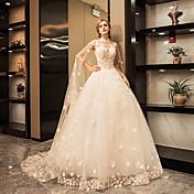 プリンセス ハイネック フロア丈 チュール ウェディングドレス とともに クリスタル アップリケ レース 〜によって YUANFEISHANI