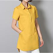 Mujer Tejido Oriental Noche Camisa,Cuello Camisero Un Color Manga Corta Algodón