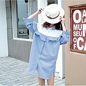 Mujer Simple Casual/Diario Camisa,Escote Chino Bloques 3/4 Manga Algodón