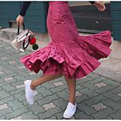 Mujer Cosecha Adorable Chic de Calle Noche Asimétrico Faldas,Corte Bodycon Color puro Primavera Un Color