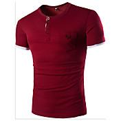 メンズ カジュアル/普段着 Tシャツ,シンプル ラウンドネック カラーブロック コットン 半袖
