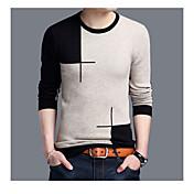 Pánské Vintage Ležérní Standardní Rolák Jednobarevné,Dlouhý rukáv Kulatý Polyester Jaro Podzim Střední Lehce elastické