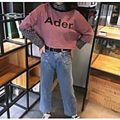 Mujer Simple Casual/Diario Camiseta,Escote Redondo A Rayas Estampado Manga Corta Algodón