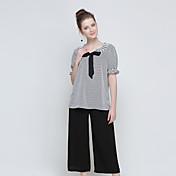 Mujer Casual/Diario Formal Casual/Diario Verano T-Shirt Pantalón Trajes,Escote Redondo A Rayas Manga 1/2 Lazo