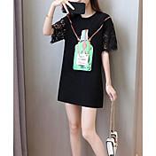 Mujer Simple Casual/Diario Verano Camiseta,Escote Redondo Estampado Manga Corta Poliéster
