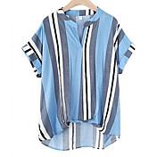レディース お出かけ カジュアル/普段着 春 夏 シャツ,シンプル シャツカラー カラーブロック リネン 半袖 ミディアム