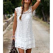 レディース ヴィンテージ 日常 シース ドレス,刺繍 ラウンドネック 膝上 ノースリーブ シルク 夏 ローライズ マイクロエラスティック 薄手