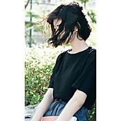 Mujer Bonito Casual/Diario Primavera Verano Camiseta,Escote Redondo Estampado 1/2 Manga Algodón Opaco