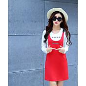 Mujer Sencillo Casual/Diario Verano T-Shirt Vestidos Trajes,Escote Redondo Un Color Manga Larga Microelástico