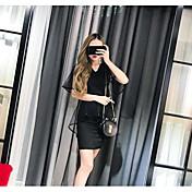 Mujer Sencillo Casual/Diario Verano T-Shirt Falda Trajes,Escote en Pico Un Color Sin Mangas Microelástico