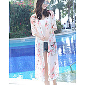Mujer Bonito Playa Verano Blusa,Cuello Camisero Floral 1/2 Manga Otro Transparente