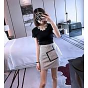 レディース カジュアル/普段着 Tシャツ,シンプル アシメントリー ソリッド コットン 半袖