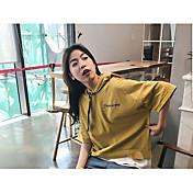 Mujer Simple Casual/Diario Camiseta,Con Capucha Un Color Letra Manga Corta Algodón