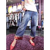 Mujer Chic de Calle Tiro Medio Inelástica Vaqueros Pantalones,Corte Recto Un Color Patrón