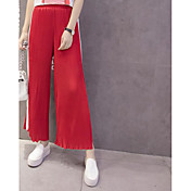 Mujer Adorable Activo Sexy Tiro Medio strenchy Perneras anchas Pantalones,Corte Ancho Un Color A Rayas Plisado