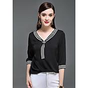Mujer Boho Sofisticado Casual/Diario Verano Camiseta,Escote en Pico Un Color Manga 3/4 Seda Fino