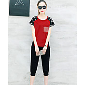 Mujer Moderno Diario Verano T-Shirt Pantalón Trajes,Escote Redondo Ajedrez Manga Corta