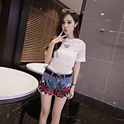 Mujer chinoiserie Alta cintura Microelástico Vaqueros Shorts Pantalones,Perneras anchas Bordado