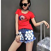 Mujer Simple Activo Diario Casual Primavera Verano T-Shirt Pantalón Trajes,Escote Redondo Estampado Manga Corta