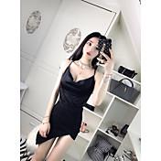 Mujer Vestidos Casual Brillante Fiesta Noche Discoteca Primavera Verano Camisas Vestidos Trajes,Escote en Pico Un Color Sexy Sin Mangas