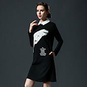 レディース カジュアル/普段着 Aライン ドレス,ソリッド フラワー ラウンドネック 膝丈 半袖 コットン 夏 ミッドライズ 伸縮性あり ミディアム