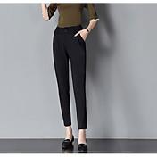 Mujer Sencillo Alta cintura Inelástica Ajustado Pantalones,Pitillo Un Color Simple Rayas