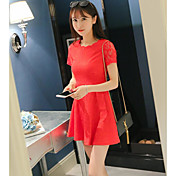 Mujer Línea A Vestido Casual/Diario Simple,Un Color Escote Redondo Sobre la rodilla Manga Corta Nailon Verano Tiro Medio Microelástico