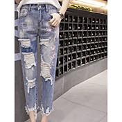 レディース ストリートファッション ミッドライズ ワイドレッグ マイクロエラスティック ジーンズ パンツ ソリッド