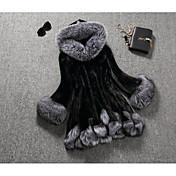 Feminino Casaco Para Noite Casual Moda de Rua Inverno,Sólido Padrão Pêlo Sintético Com Capuz Manga Longa