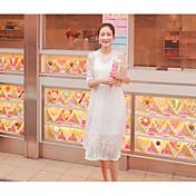 Mujer Corte Bodycon Encaje Vestido Casual/Diario Un Color Logo Playing With Apple Escote Redondo Hasta la Rodilla Manga CortaRayón