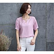 レディース 日常 カジュアル Tシャツ,シンプル ラウンドネック ソリッド コットン 半袖