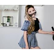 レディース キュート ミッドライズ ワイドレッグ カジュアル/普段着 ロンパース ファッション 夏