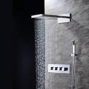 現代風 壁式 滝状吐水タイプ レインシャワー ハンドシャワーは含まれている with  セラミックバルブ 四ハンドル三穴 for  クロム , シャワー水栓