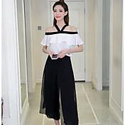 Mujer Simple Casual Verano T-Shirt Falda Trajes Un Color Manga Corta Microelástico