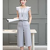 Mujer Simple Diario Casual Verano T-Shirt Pantalón Trajes,Escote Redondo Un Color Sin Mangas