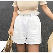 Mujer Adorable Alta cintura Inelástica Shorts Pantalones,Perneras anchas Un Color