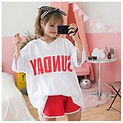 Mujer Estampado Clásico Casual Moderno Diario Casual Primavera Verano T-Shirt Pantalón Trajes,Escote Redondo Estampado Patrón SexyManga