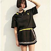 Mujer Moderno / Contemporáneo Casual/Diario Verano T-Shirt Falda Trajes,Cuello Camisero Estampado Letra Manga Corta