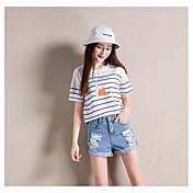 Mujer Adorable Sencillo Alta cintura strenchy Shorts Pantalones,Perneras anchas Un Color