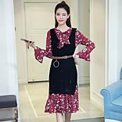 Mujer Empapa Diario Verano Blusa Vestidos Trajes,Escote Redondo Floral Estampado Manga Larga